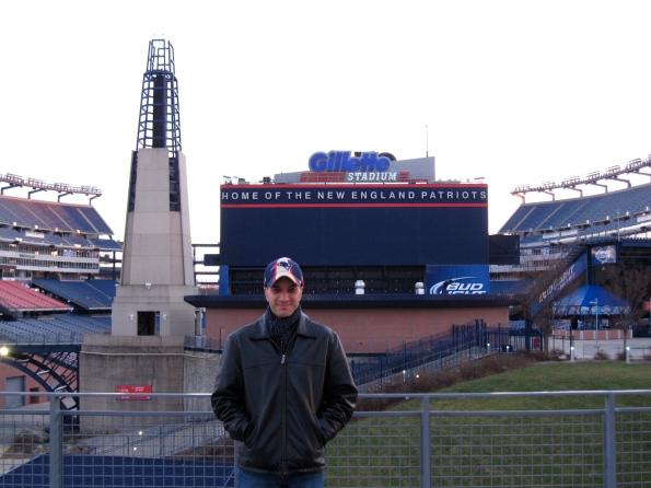 Domingos in front of the stadium