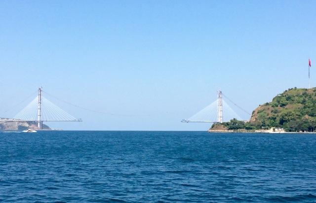 Suspension bridge being built across the Bosphorus