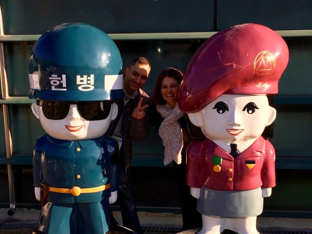 Posing with some cute statues at the 3rd Infiltration Tunnel site