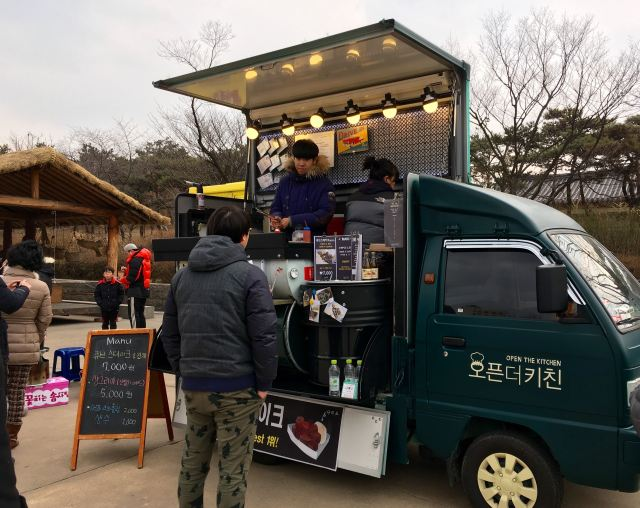 Food truck selling steak with japchae