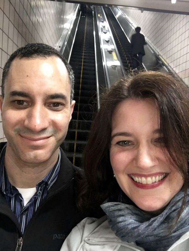 On our way to dinner in the subway station