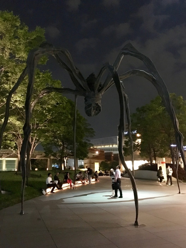 Creepy spider statue in the courtyard next to Mori Tower