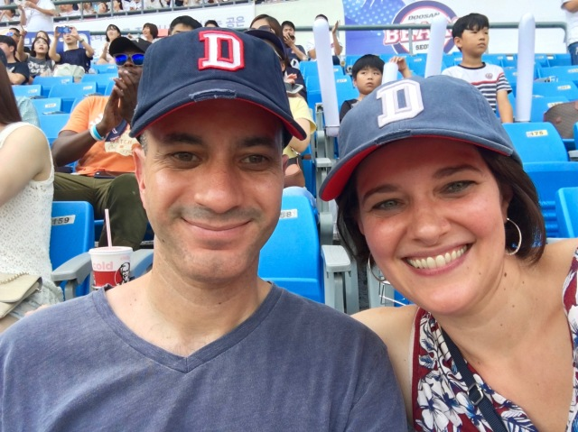 We couldn't resist buying a couple of Doosan Bears hats!