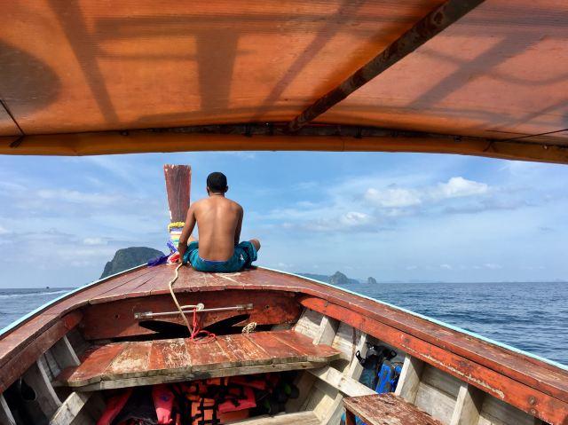 Amin enjoying his perch at the bow, soaking up the sun