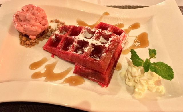 Red velvet waffle with homemade strawberry ice cream